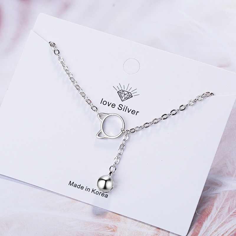 Female Bell Bracelet Gift for Girlfriend Solid 925 Sterling Silver Jewelry Lovely Cat Shape Plain Silver Chain Link Bracelet