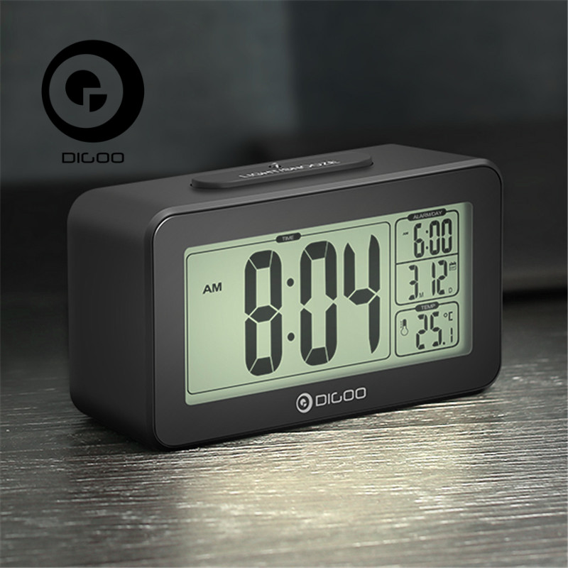 Digoo DG-C4 C4 Digital Sensitive White Backlit LCD Thermometer Desk Alarm Clock Dual Alarm With Snooze novelty run around wake up n catch me digital alarm clock on wheels white 4 aaa