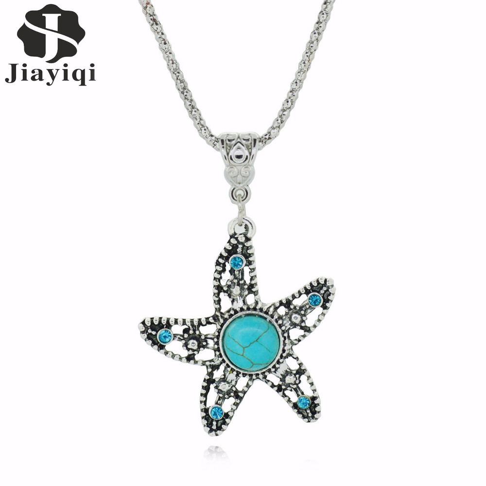 Brand New Five-pointed Star Cute Pendant Necklace Tibetan Silver Green Stone Starfish Pendant  Necklace Women choker necklace
