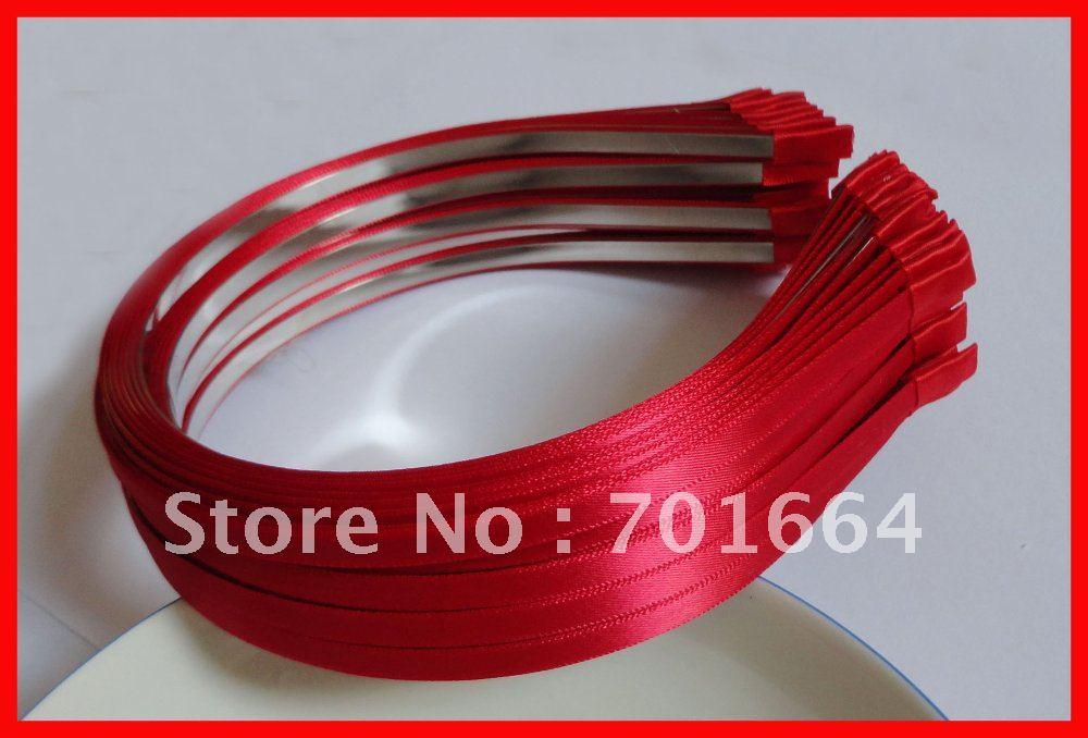 10 шт., 5 мм, горячая красная атласная лента, один покрытый обычный металл, ободки для волос,, красные повязки для волос