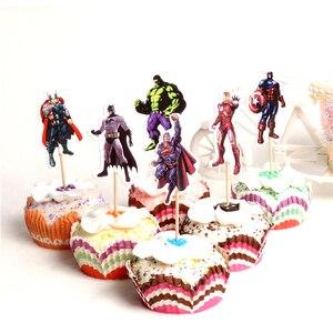 24 шт., Фигурки Мстителей, Супермен, Капитан Америка, Бэтмен, Халк, Железный человек, кексы, Декорации для мальчиков на день рождения