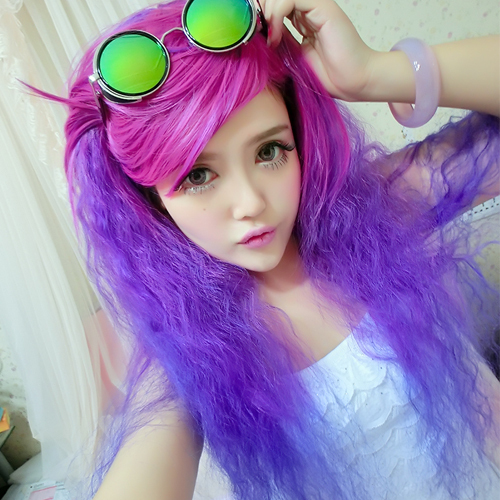 Peruca Cosplay Lolita Wig Long Curly Ombre Purple/Green/Blue/Silver/Brown Heat Resistant Synthetic Wig Fashion Party Loose Wig