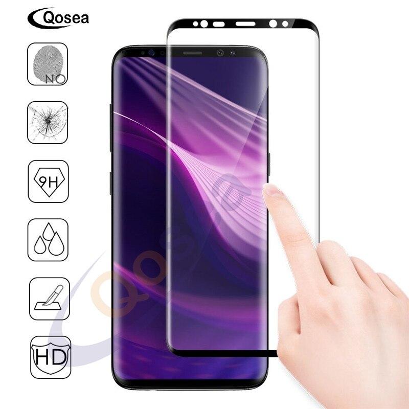 Qosea Pour Samsung Galaxy S9 Écran Protecteur 9 H Antidéflagrants Avant plein Film 4D Ultra Clear Pour Samsung S9 Plus Trempé verre