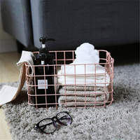 Ins Desktop Debris Storage Baskets Iron Metal Food Basket Bathroom Towel Storage Basket Handing Organization