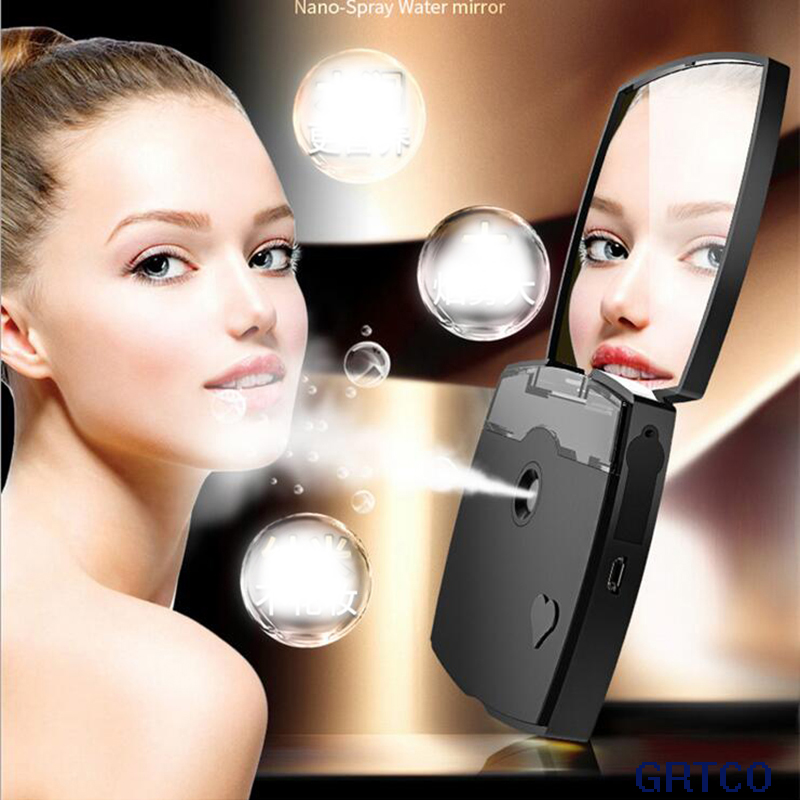 Mini Rechargeable Makeup Mirror Nano Mist Sprayer Facial Humidifier Moisture Skin Care Steamer Beauty Cosmetic Mirror mini usb nano mist sprayer facial body nebulizer steamer moisturizing skin care tool portabe face spray beauty instrument device