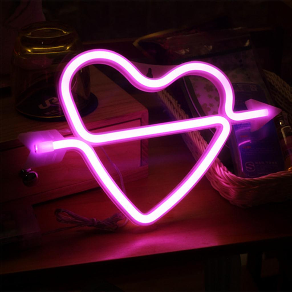 2019 New Cupid Love Through Heart  LED Pink Night Lamp Table Light Accessories Creative Pink Light Love Led Night Light Hot