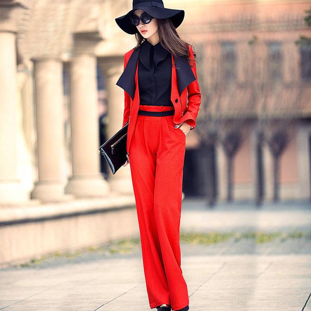 Envío libre Ocupación ropa un grano de la hebilla de la solapa de la chaqueta de traje traje de negocios temperamento femenino de manga larga de color rojo traje