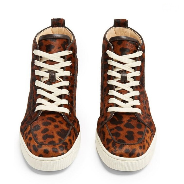 LTTL New Fashion Horsehair Leopard Men Sneakers Luxury Brand Lace-up High Top Sneakers Handmade Mens Shoes Casual Leather Shoes