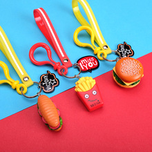 2019 New Cute Burger Fries Sandwich Key chain For Woman Creative Simulation Food Keychains Unisex Keyring Small Gifts