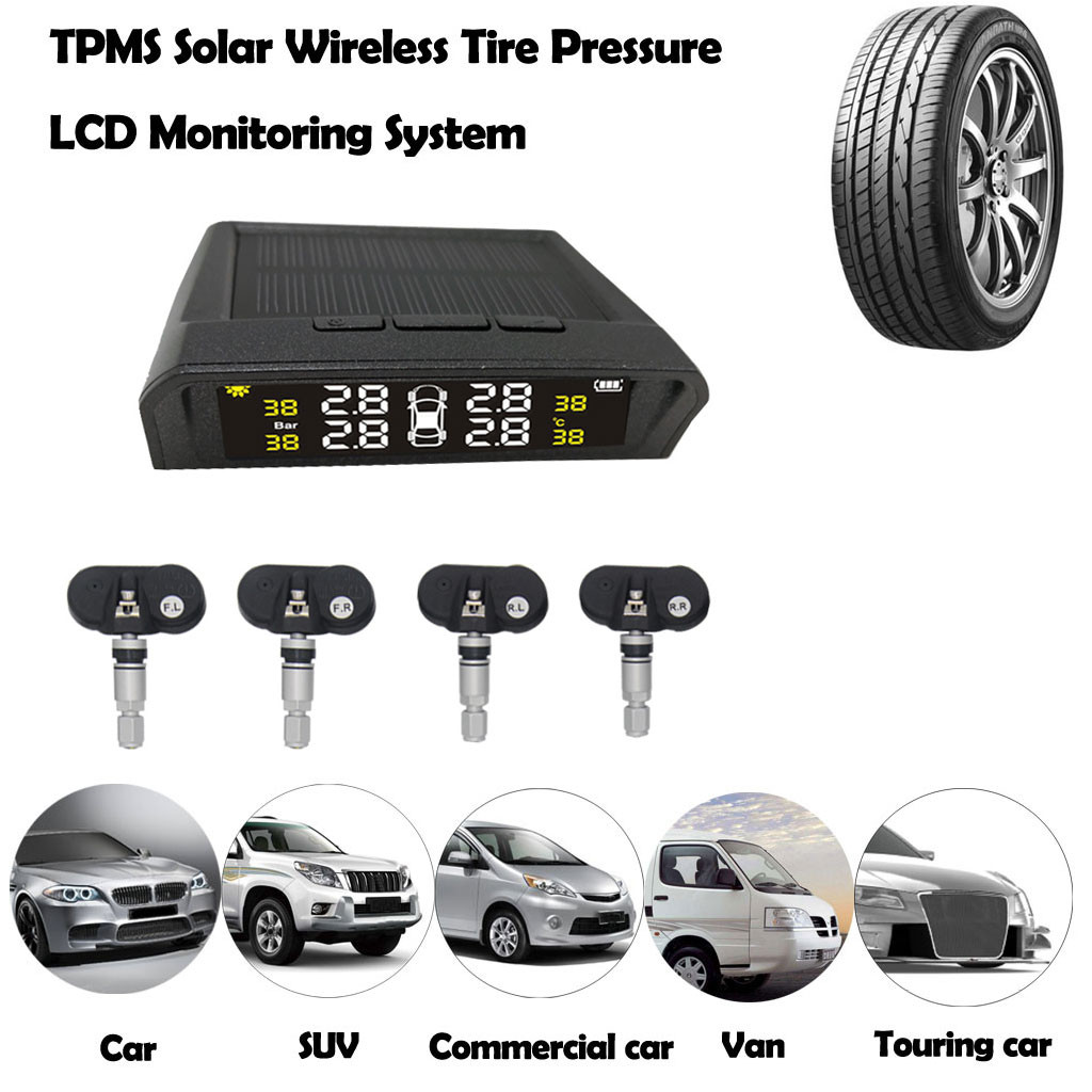 4 alarm function TPMS car tire pressure monitoring system auto wheel air pressure monitor tool sensor car tire pressure tester(China)