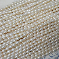 2pc Lot 40cm 1pc Free Shipping Natural Freshwater OVAL PEARLS 3 X 4 Mm Diy Chain