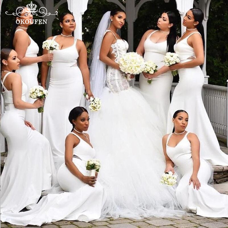 2019 White Mermaid Bridesmaid Dresses Cheap Wholesale Sexy Spaghetti Strap Criss Cross Back Party Dress Maid Of Honor For Women