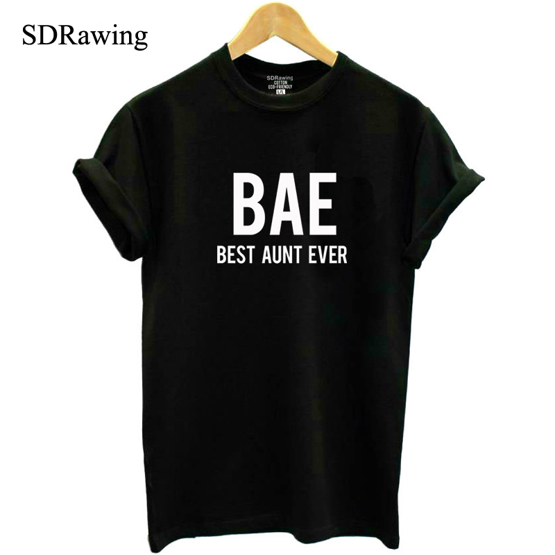 BAE Best Aunt Ever Shirt Auntie Casual T Shirt Bae Aunt Tee New Aunt Cotton Tops Plus Size Drop Ship