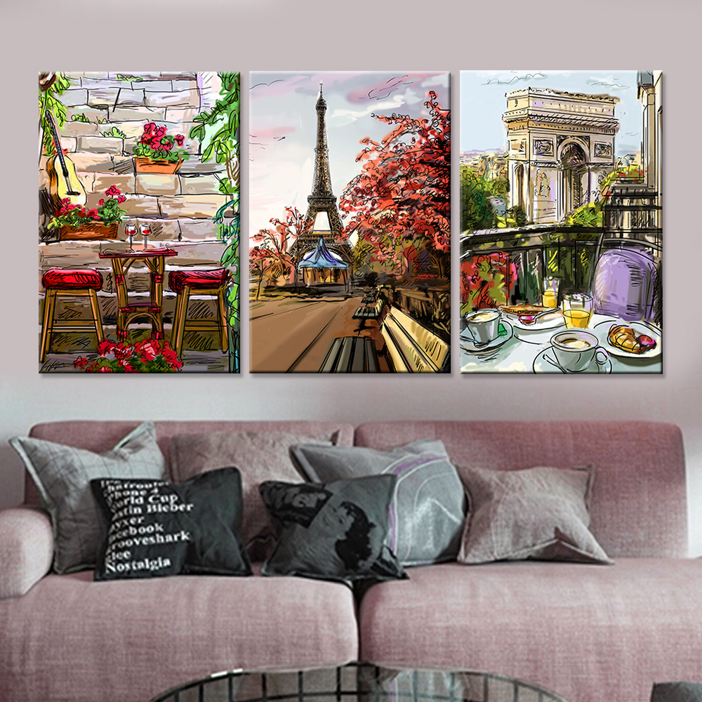 Drop-shipping Modern Paris City Landscape Canvas Painting Home Decor Wall Art Picture for Living Room Unique Gift No Frame 3pcs