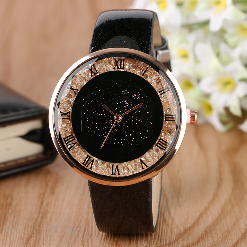Fashion Casual Women Watches Luxury Blink Crystal Romen Numbers Ladies Wristwatch Black Leather Band Strap Female Quartz Watch kingsky new fashion small women watches famous design quartz watch black pu leather strap wristwatch
