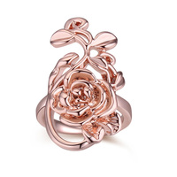 2016 New Fashion Jewelry Exaggeration Big Rose Flower Vine Vintage Ring For Women Rose Gold Plated