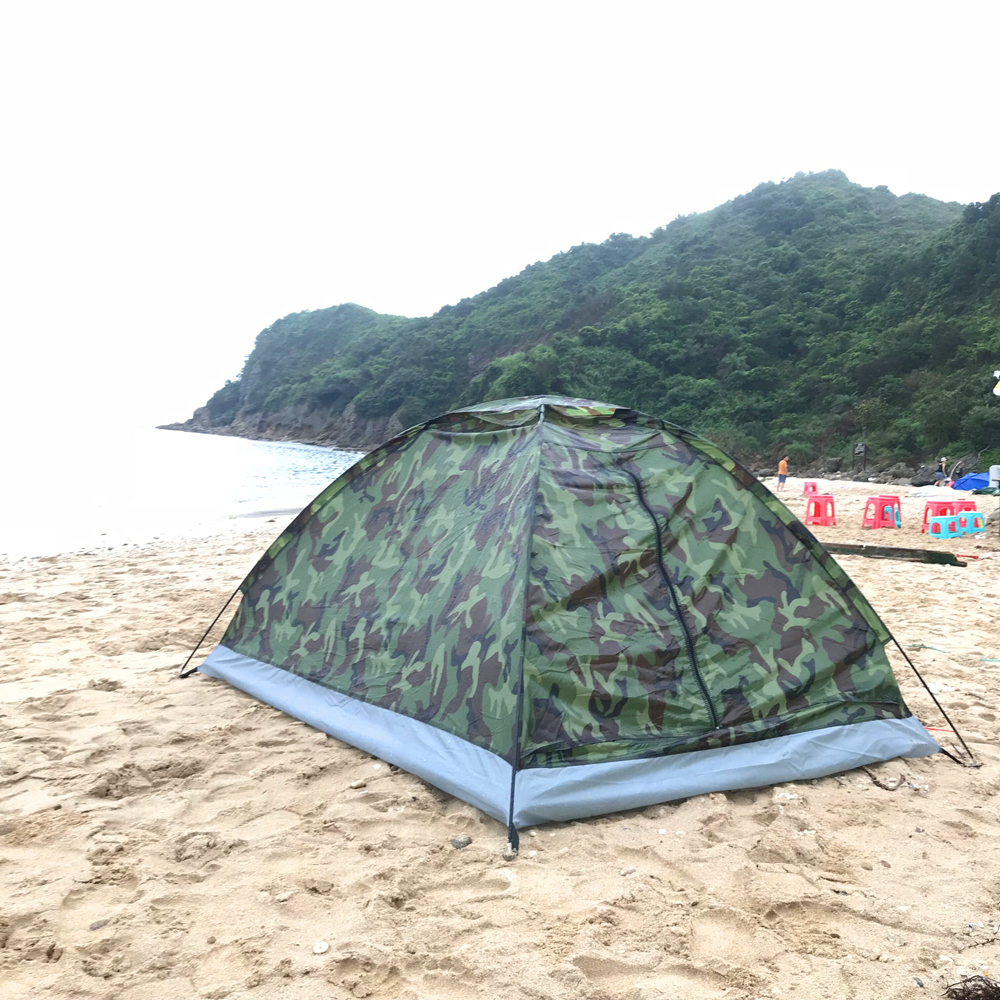 Camping Tent for 1 Person Single Layer Outdoor Portable Camouflage Travel Beach Tents