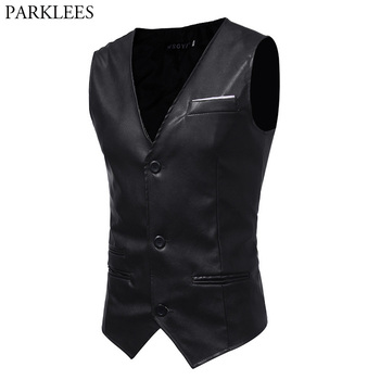 Fashion Black PU Leather Suit Vest Men 2018 Night Club Wear Single Breasted Sleeveless Waistcoat Mens Slim Fit Party Stage Vests