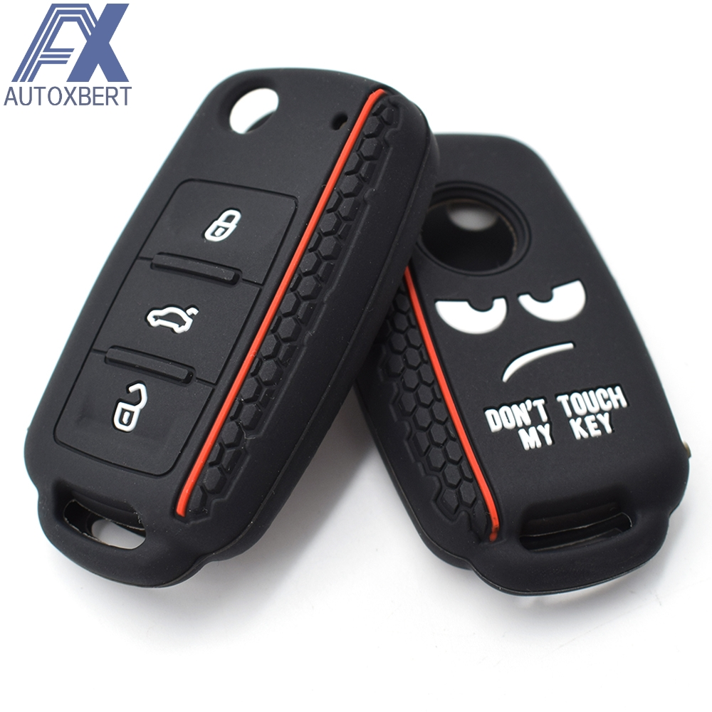 Black kwmobile Car Key Cover for VW Skoda Seat Protective Hard Plastic Key Fob Cover Case for VW Skoda SEAT 2 Button Flip Key