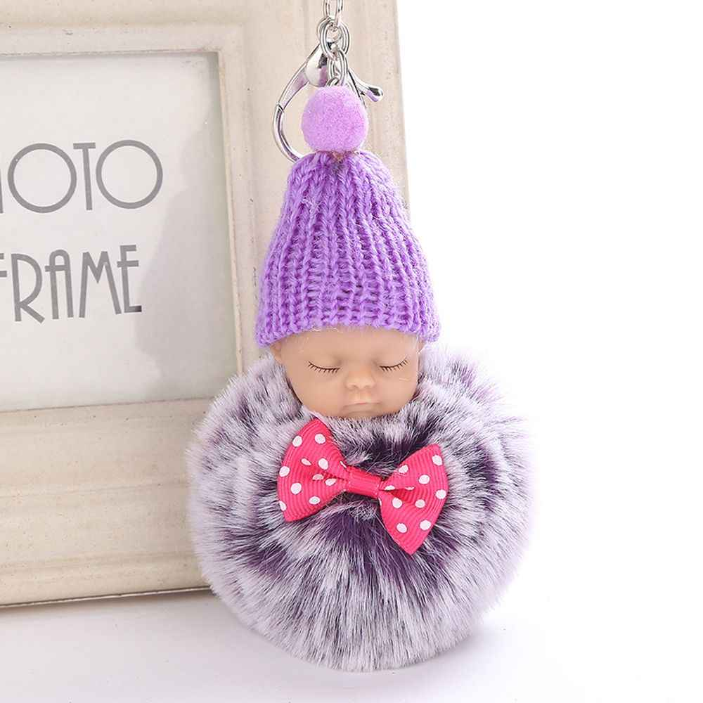 2a2b654d31 Silver Key Chain Pom Pom Key Ring Fake Rabbit Fur Ball KeyChain Pompom  Sleeping baby doll
