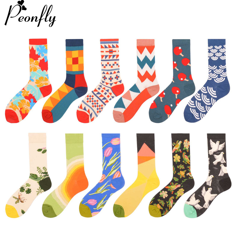 PEONFLY Fashion Mens Combed cotton Casual Business Socks Novelty Cool Wedding Party Socks Funny Skateboard Socks 12 Pairs/Lot