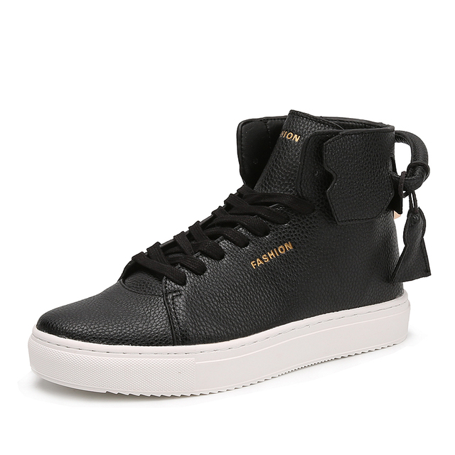 popular new arrival man fashion boots with charm golden color lock famous brand style mens high top shoes have chain decoration