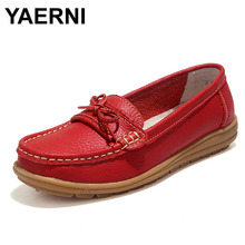 YAERNI Shoes Woman Genuine Leather Women Shoes Flats 4Colors Loafers Slip On Women's Flat Shoes Moccasins #WD2872