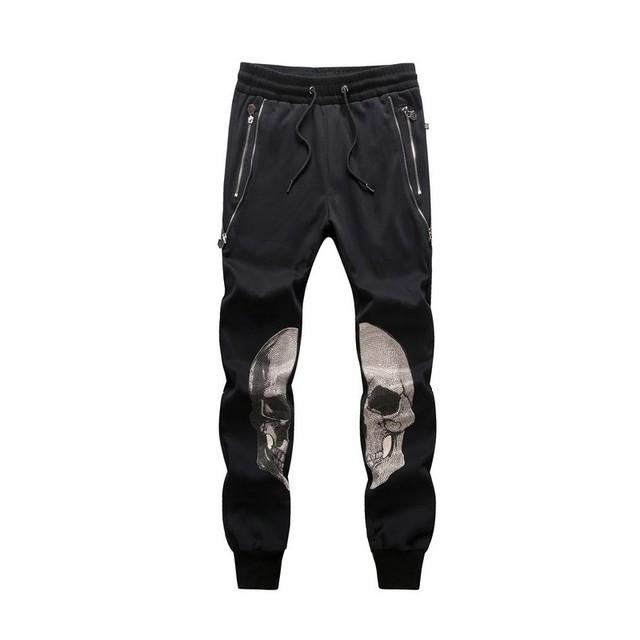 2017 mens calças de impressão crânio moda completa calças dos homens denim calças harém folgado hip hop estilo causual calças stretch zíper pantalon