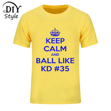 2017 Kevin Durant tshirt homme jersey funny KEEP CALM T shirt men cotton KD 35# letter print T-shirt fashion brand clothing Tees