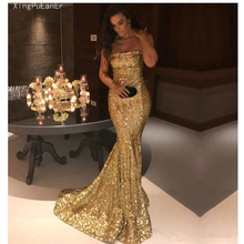 Mermaid Strapless Gold Prom Dresses 2019 Sequins Sparkle Crystals Plus Size Long Gown Evening Robe De Soiree