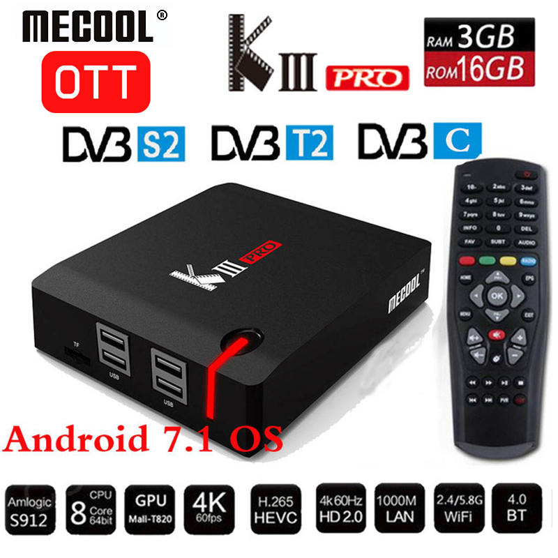 MECOOL KIII PRO <font><b>DVB</b></font>-S2 <font><b>DVB</b></font>-<font><b>T2</b></font> <font><b>DVB</b></font>-C Decoder <font><b>Android</b></font> 7.1 TV Box 3GB 16GB K3 Pro Amlogic S912 <font><b>Octa</b></font> Core 64bit 4K Combo Set top box image