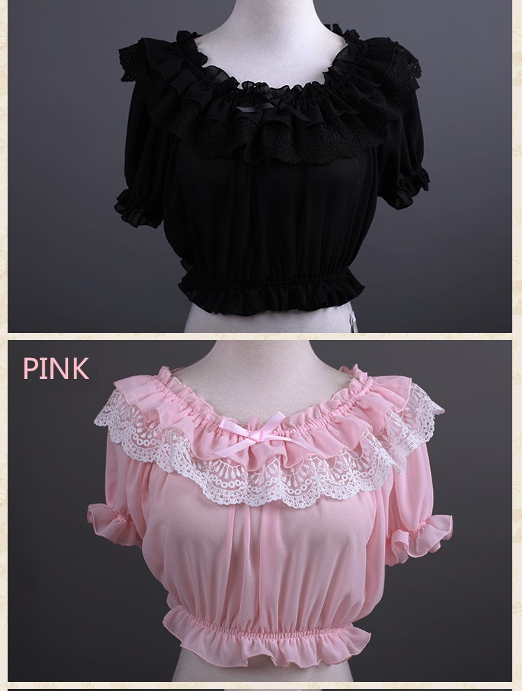 16 New Women Tube Top Loyal Princess Lace Embroidery Ruffled Puff Sleeve Ruffle Basic Vintage Tube Tops White Black Pink Red 10