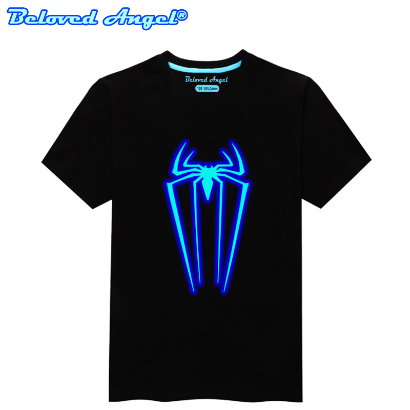 Luminous Short Sleeves T-Shirt For Boys T Shirt Spiderman Christmas Teen Girls Tops Size 3-15 Years Teenage Toddler Boy Tshirts