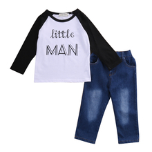 2016 Fashion Baby Boy Little MAN Letter Long Sleeve Tee T-shirt+Long Denim Pants 2PCS Outfits Casual Toddler Clothes