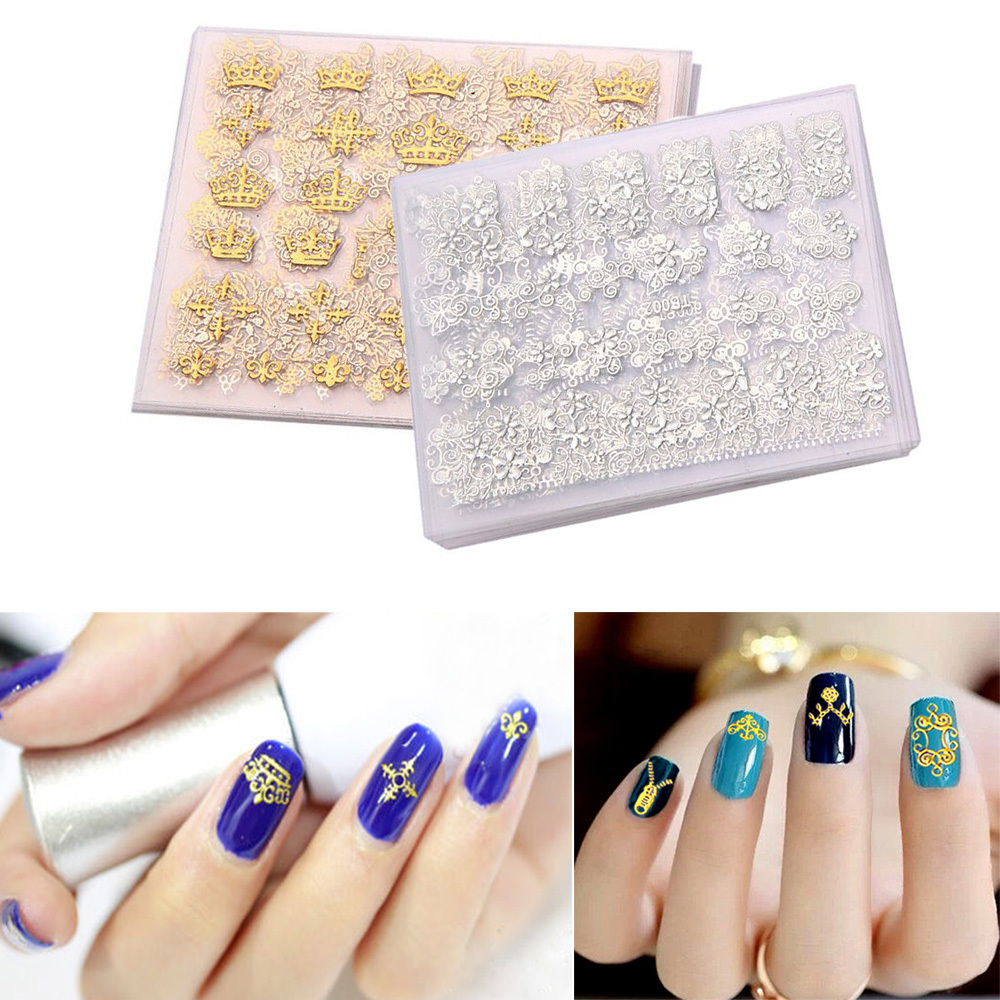 Detail Feedback Questions about 12PCs Set DIY Beauty Metallic Gold Silver 3D  Nail Art Stickers Decorations Mix Designs Flower Nail Decals Manicure Tips  on ... 0ec3932e7dd3