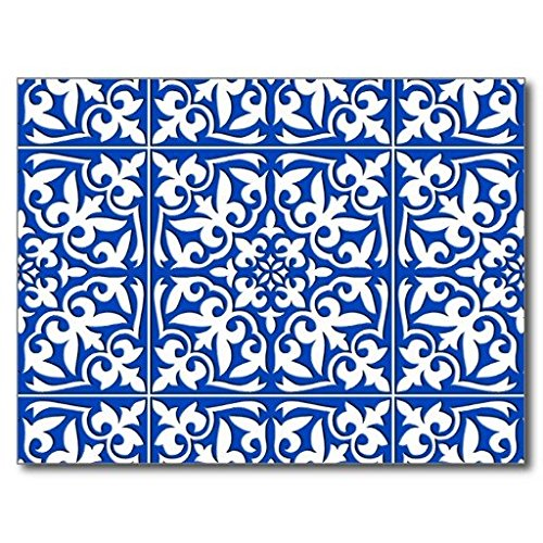Ailovyo Moroccan Tile Cobalt Blue And White Non Slip Entry