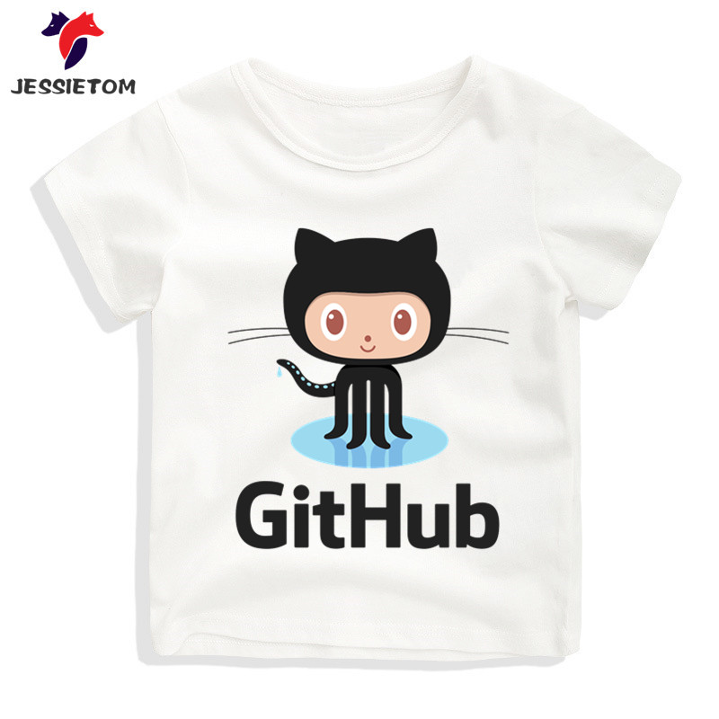 Boy and Girl Cartoon Funny Github Design Tshirt Kid Summer Soft Kawaii Git Hub Top Tee Children Funny Clothes Baby Camisetas