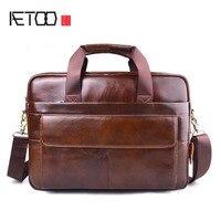 AETOO New Men Briefcases Genuine Leather Handbag Vintage 15 Laptop Briefcase Messenger Shoulder Bags Men S