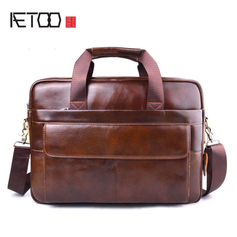 AETOO New Men Briefcases Genuine Leather Handbag Vintage 15''Laptop Briefcase Messenger Shoulder Bags Men's Bag цена