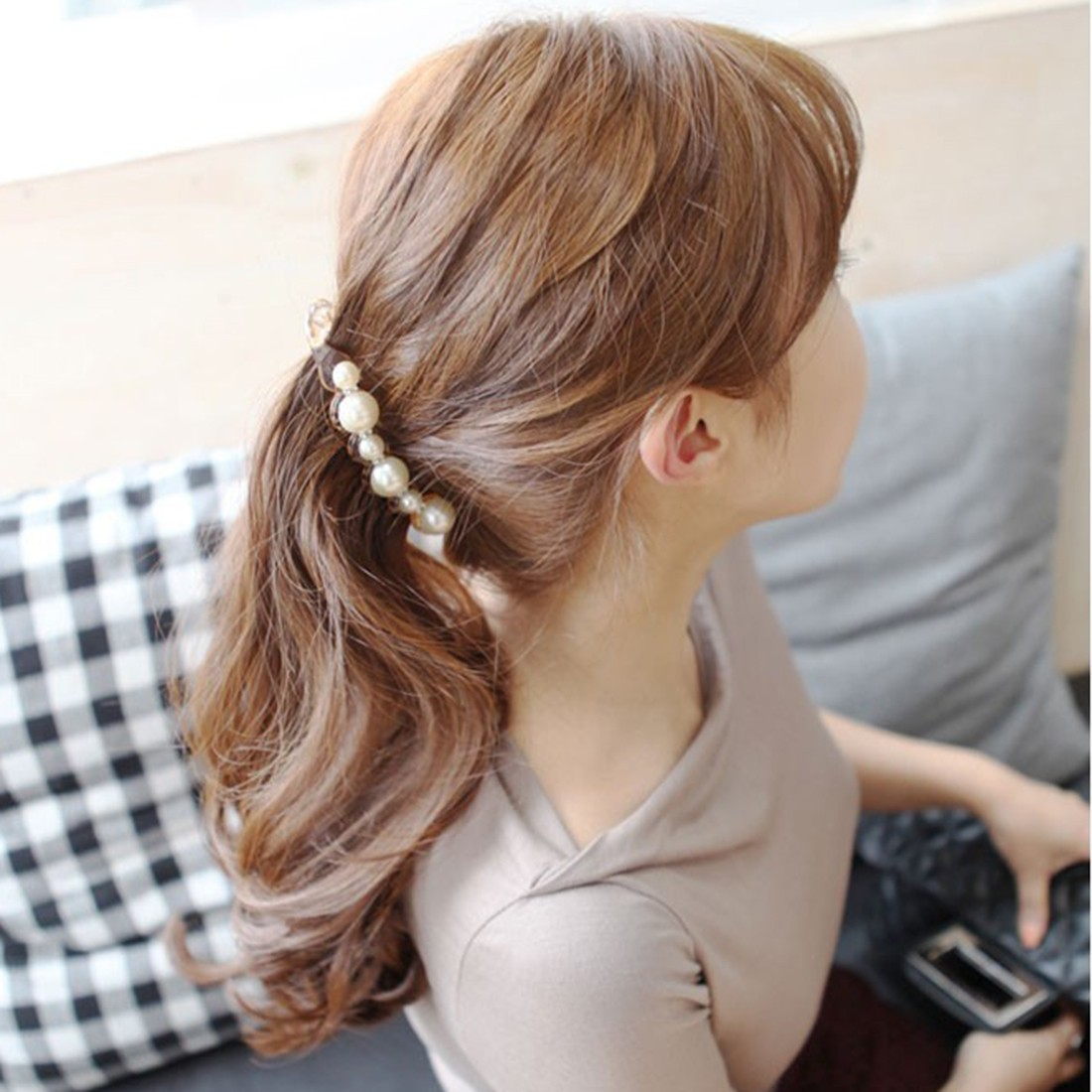 Hair accessories singapore - New Special Design Orange Black Beautiful Simulated Pearls Hairpins Hair Jewelry Banana Hair Clips Accessories