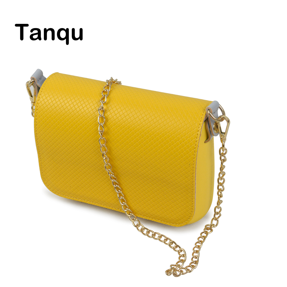 TANQU New Obag Opocket Style Small EVA Pocket Plus PU Leather Flap with Long metal Shoulder Chain Hook with Clip Closure
