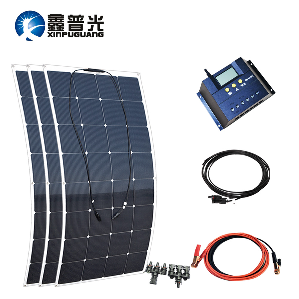 480w 16v Solar System Flexible Solar Panel 160w PV Module Mono Cell 40A Controller MC4 Connector Adapter for 12v Battery Charger
