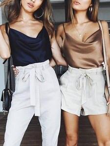 Conmoto Satin Women Summer Camis Shirts Sexy Tops Plus Size