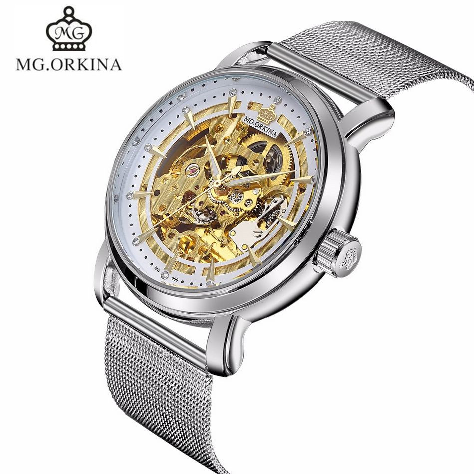 ORKINA Men Male Fashion Automatic Self-Wind Stainless Steel Band Big Case Skeleton Mechanical Watch