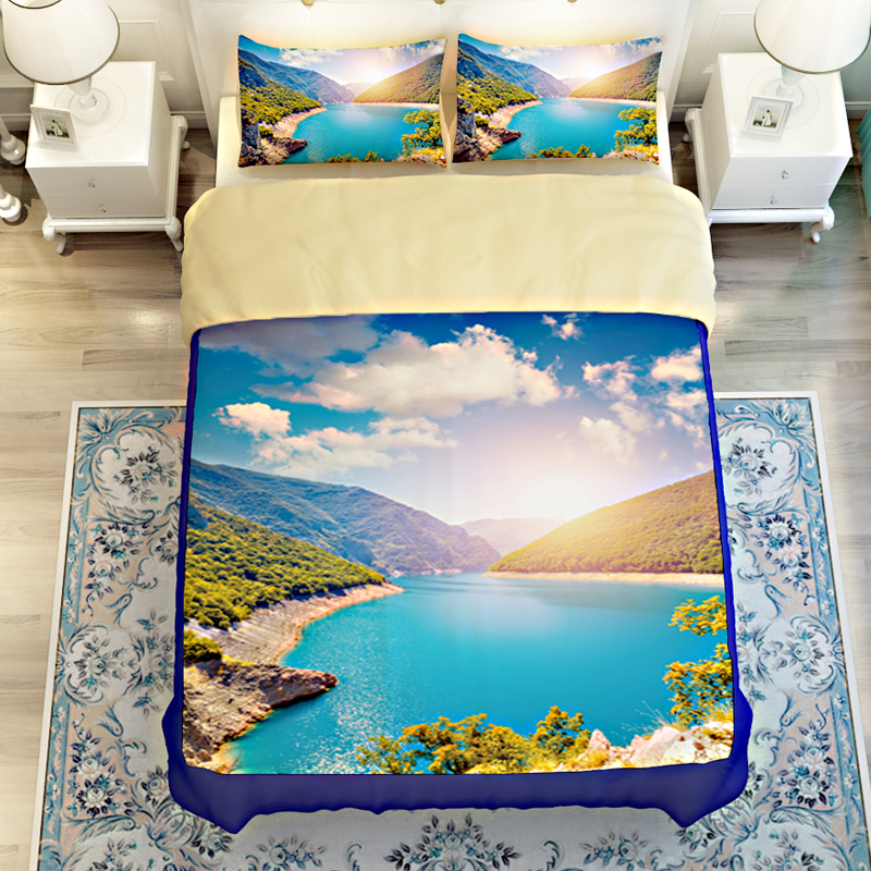 China Landscape Castle Peak Green Water 3D Bedding Set Quilt Cover <font><b>Bed</b></font> Sheets Twin Queen King Size Polyester Fabric Home Textile