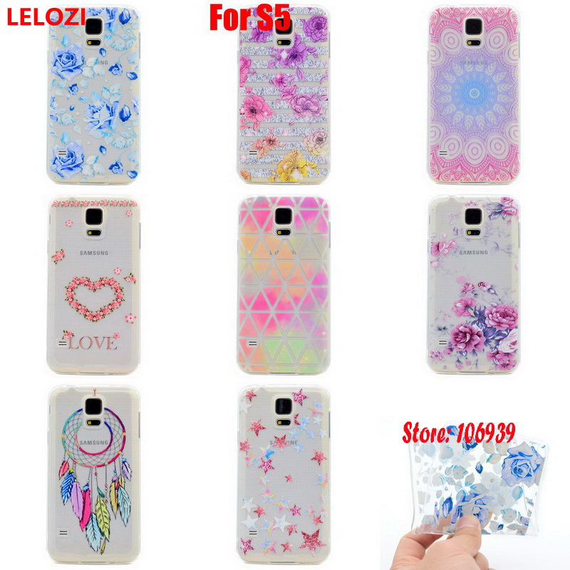 LELOZI Soft Transparent TPU Clear Silicone Fundas Coque Case Cover Cove For Samsung Galaxy S5 SM-G900F Vintage Dreamcatcher Art ...