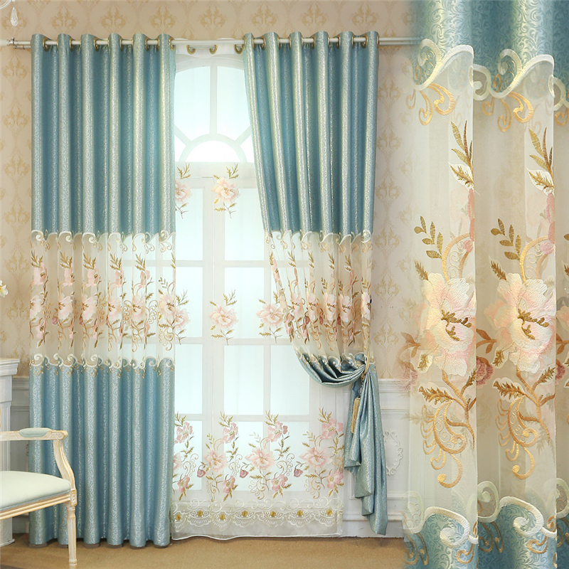 European luxury Polyester cotton Curtains Living Room Kitchen Luxury royal aristocratic embroidered high shade curtains Bedroom