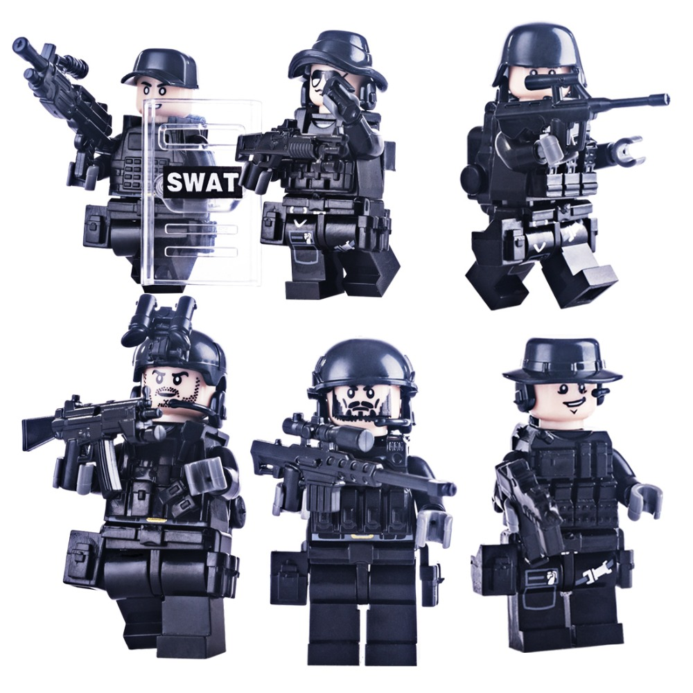 6Pcs Special Soldier SDU Multiple Weapons World War II Military Building Block Doll Assembly Support Most of Major Brick Brands