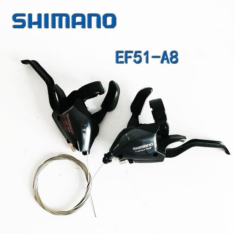 Um Novo par de Bicicleta Shimano Freio + Engrenagem Rapidfire Shifters velocidade 24 ST-EF51 22.2mm Bar