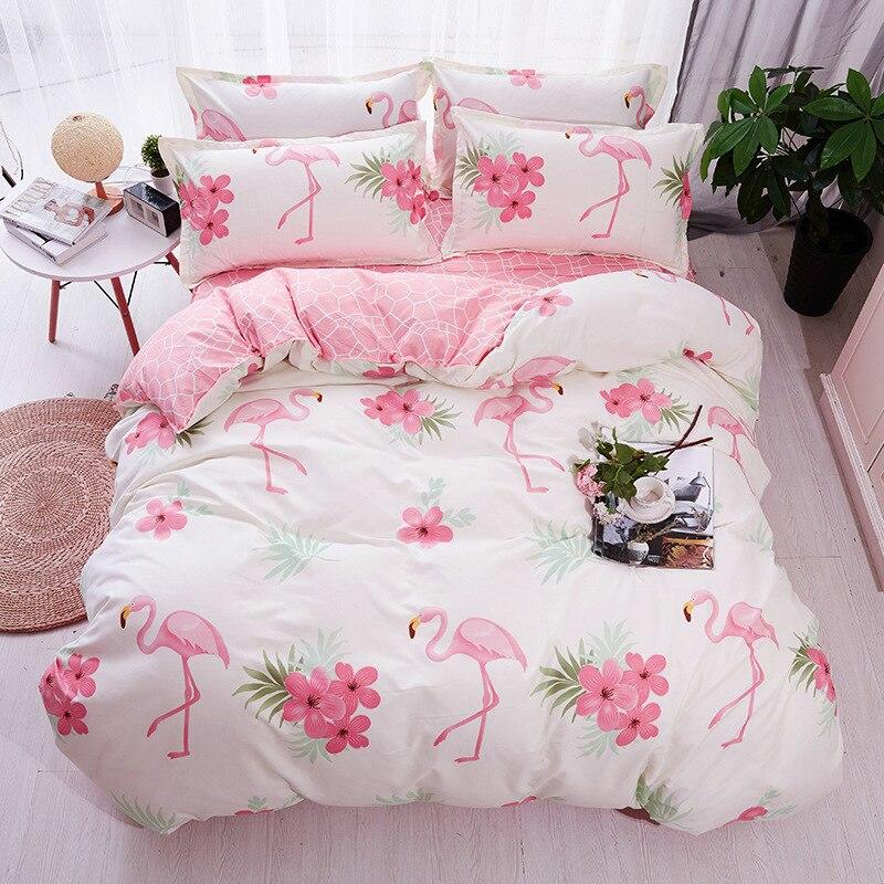 b7a28f6c3d Conjuntos de Cama Dos Desenhos Animados Rosa Flamingo YMQY 3 4 pcs Planta  Tropical Padrão